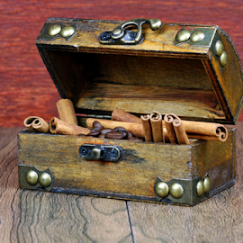 Coffee and cinnamon sticks by Dipali S - Artistic Objects Other Objects ( wooden, latch, cinnamon, coffee beans, artistic, box, object, spices, closeup )