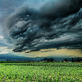 Storm and volcanoes by Cristobal Garciaferro Rubio - Landscapes Prairies, Meadows & Fields ( clouds, cholula, popo, mexico, puebla, popocatepetl, storm )