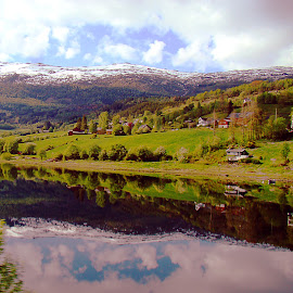 A Norway Reflection by Dee Haun - Landscapes Mountains & Hills ( 2008, reflection, farms, snow, sony dsc-h9, lush green, lake, landscapes, mountains & hills, h0944ce1, norway )