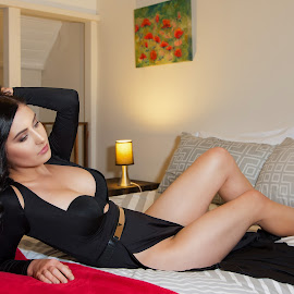 The bedroom by Chris O'Brien - People Portraits of Women ( body, sexy, style, woman, beauty, black dress )