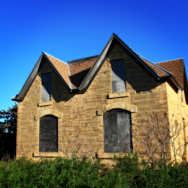 Country Home by Robert D Brozek - Buildings & Architecture Homes ( roof, limestone, roofbrown, sky, blue, green, windows, house, kansas,  )