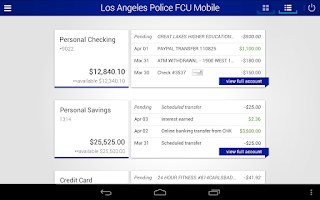 Screenshot of Los Angeles Police FCU Mobile