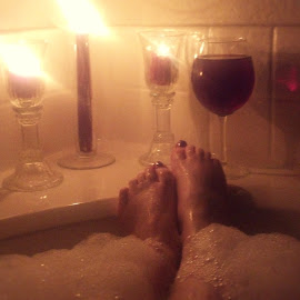 Wine and Bubbles by Char Marie Hurt-Robertson - People Body Parts ( wine, bubble bath, candlelight, bubbles, feet )