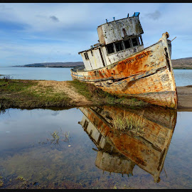 Shipwreck at Pt Reyes  by James Rudick - Transportation Boats ( hdr, shipwreck, seascpe, pt reyes )