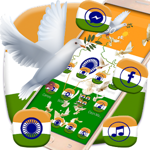 Download Indian Independence Day flag theme, peace pigeon for Android