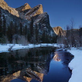 3 brothers  by Dustin Penman - Landscapes Mountains & Hills ( national park, winter, yosmite, merced river, 3 brothers, penman )