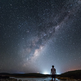 Stargazer by Paean Ng - Landscapes Starscapes ( water, serpentine, milkyway, perth, beautiful, stargazer, astronomy, milky way, nightscape, astro, stars, outdoor, australia, dam, stargazing, astrophotography, night, night sky, starscape )