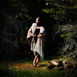 Fringed Shawl by Tammy Drombolis - People Fashion ( woman, shawl, fringe, model, silvercedarstudio,  )