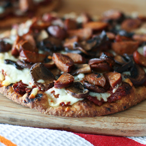 Andouille Sausage, Mushroom and Sun-dried Tomato Naan Pizza