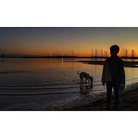 Enjoying Sunset with best friend by Sugiarto Widodo - People Street & Candids ( sunset, beach, dog,  )
