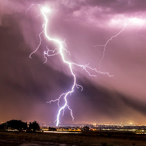 And the Lightning Strikes! by Glenn Pearson - Landscapes Cloud Formations