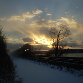 Burst by Doug Ireland - Transportation Trains ( water, sunset, trrain, transportation, river )