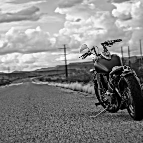 Bobber by Jordan Wangsgard - Transportation Motorcycles ( harley, hdr, chrome, street, bars, kawi, road, kawasaki, harleydavidson, sign, hog, seat, motorcycle, bobber, 2wheels, black, custom, automobile, automotive, car, photography, bike, exotic )
