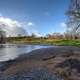 bolton abbey, england by Keith's Captures - Landscapes Waterscapes ( raw, full frame, lawn, bright, architecture, landscape, people, sun, farm, england, sky, d750, sunny, buildings, nef, water, clouds, hill, uk, field, jpg, north yorkshire, bolton abbey, wide angle, meadow, trees, river )