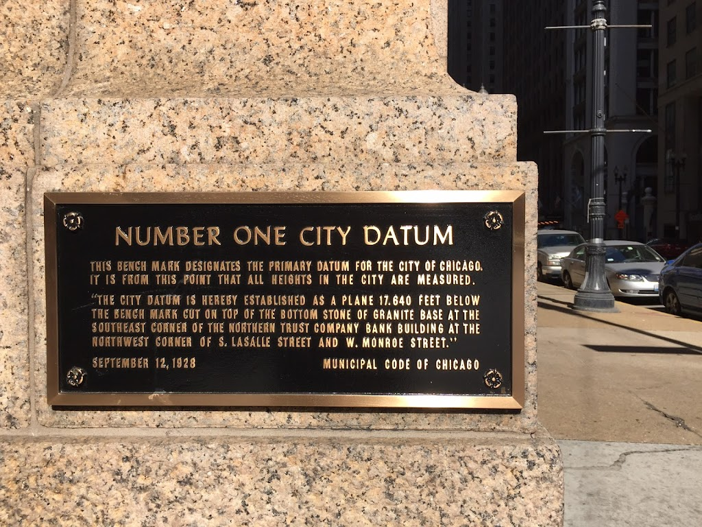 This bench mark designates the primary datum for the City of Chicago. It is from this point that all heights in the city are measured.