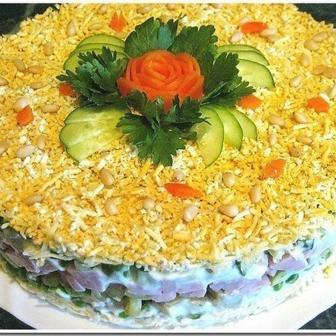 Puff Salad With Avocado And Ham