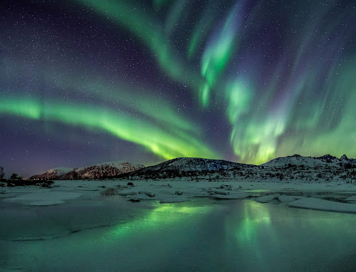 Aurora over mountains by Benny Høynes - Landscapes Mountains & Hills ( canon, night photography, colorful, ice, northern lights, aurora borealis, greencolor, landscapes, nightscape, norway,  )