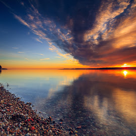 Curonian mirages by Ruslan Bolgov - Landscapes Sunsets & Sunrises ( clouds, water, reflection, blue, colors, sunset, curonian gulf, lithuania, stones )