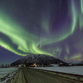 Aurora over mountain by Benny Høynes - Landscapes Mountains & Hills ( canon, sky, winter, colors, northern lights, aurora borealis, norway )