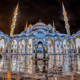 Sultanahmet Mosque by Munzer Al-Seed - Buildings & Architecture Public & Historical ( fisheye, islam, wide angle, mosque, long exposure, night, architecture, turkey, istanbul, rain, panorama, nightscape )