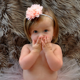 oops by Susan Davies - Babies & Children Child Portraits ( girl, tutu, infant, cute, surprised, pretty, flower )