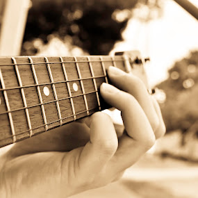 The Ukulele  by Sawyer Jones Photography  - People Musicians & Entertainers ( sky, murfreesboro, b&w, fingers, dark, guitar, sawyer jones photography., strings, light, nikon d5000 )