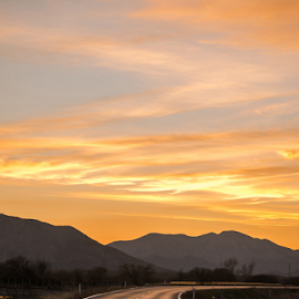 Sunset on the road by Branislav Rupar - Landscapes Travel ( car, highway, truck, sunset, two-way, right side, road, west )