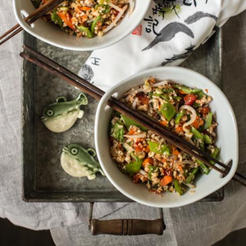 Raw Veggie Rice with Tamari Orange Sauce