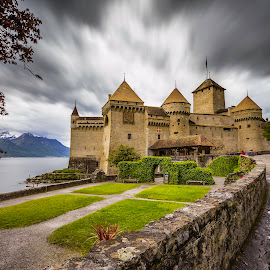 Chateau de Chillon by Nikolas Ananggadipa - Buildings & Architecture Public & Historical ( dramatic, switzerland, cloudy, lake, long exposure, castle )