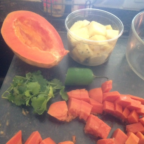 PAPAYA, PINEAPPLE & CUCUMBER Salsa or Salad * touch of jalapeno * Cilantro * fresh