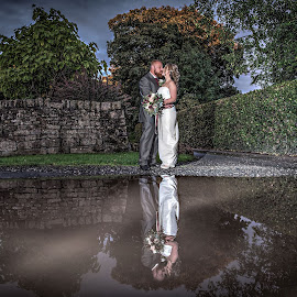 On Reflection by Peter Anslow - Wedding Bride & Groom ( wedding photography, wedding day, wedding, wedding dress, wedding photographer, bride )