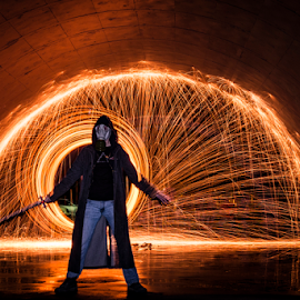 The Gatekeeper by Scott Head - Abstract Light Painting ( steel wool, scott@echo-arkansas.com, all rights reserved, copyrighted, www.echo-arkansas.com )