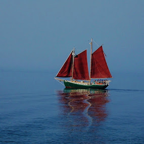 Red Sails by Robert Coffey - Transportation Boats ( reflection, red, sails, lake superior, boat, schooner,  )