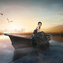 Karina  by Charles Mawa - Digital Art People ( digiphotography, dream, dress, lanscape, digital manipulation, digital art, boat, women )
