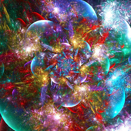 Expanding Galaxy by Peggi Wolfe - Illustration Abstract & Patterns ( abstract, wolfepaw, gift, unique, bright, illustration, expanding, fun, digital, print, décor, pattern, color, unusual, fractal, energy, galaxy )