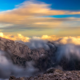 Jalovec by Miroslav Asanin - Landscapes Mountains & Hills ( clouds, national park, adventure, mountain, sunset, slovenia, beautiful, long exposure, view, hiking, exploration )