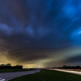 Monsters do live in the dark. by Matt Hollamon - Landscapes Weather ( super cell, mesocyclone, thunderstorm, texas, light trails, weather )