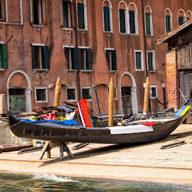 Gondola Repairs by Andrew Moore - City,  Street & Park  Historic Districts ( venice )