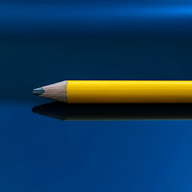 Yellow pencil by Darrell Evans - Artistic Objects Other Objects ( art, yellow, equipment, pigment, draw, office, graphite, pencil, lead, core, blue, stationary, wooden, design, drawing, wood, no people, write )