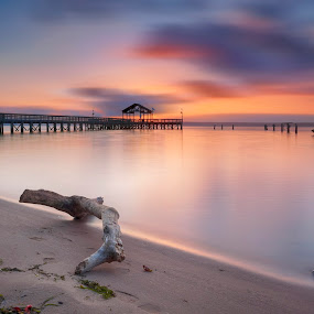 are we predestined to get what we get by Edward Kreis - Landscapes Sunsets & Sunrises ( clouds, sand, tone, waterscape, single shot, layers, beach, neutral density, landscape, contrast, lee filters, driftwood, groyne, dawn, color, leesylvania, pier, virginia, sunrise, burn, doge, luminosity, potomac river )