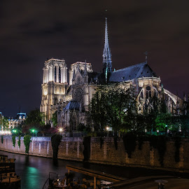 Notre Dame at Night by Tom Baker - Buildings & Architecture Places of Worship ( paris )
