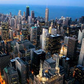 103 by Lilian Iatco - City,  Street & Park  Skylines ( michigan, lake, chicago, 103 floor, city, serenity, blue, mood, factory, charity, autism, light, awareness, lighting, bulbs, LIUB, april 2nd )