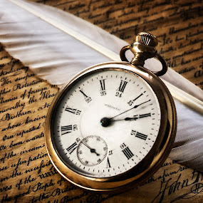 Declaration of Independence by Marianna Armata - Artistic Objects Antiques ( text, watch, grandfather, paper, parchment, writing, quill, script, marianna armata, feather, official, antique, signature )