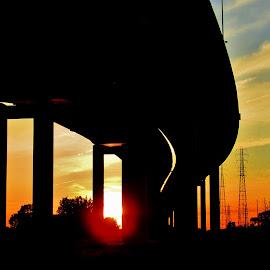 Z-Bridge Sunset by Howard Sharper - Buildings & Architecture Bridges & Suspended Structures ( industrial, urban landscapes, sunset, silhouette, cityscape, bridge )