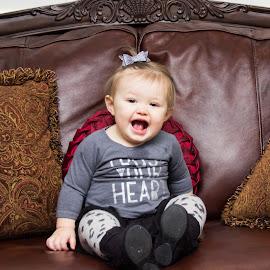 Joy by Skylar Marble - Babies & Children Babies ( little baby girl, sofa, little girl, joy, happy, baby girl, little, baby, smiling )