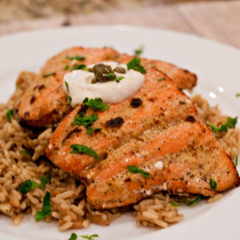 Broiled Salmon with Dijon-Caper Cream Sauce