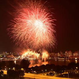 Pre-NDP Fireworks by Chin KK - City,  Street & Park  Skylines ( ndp, fireworks, sportshub, kallang, evening, 2ndweek )
