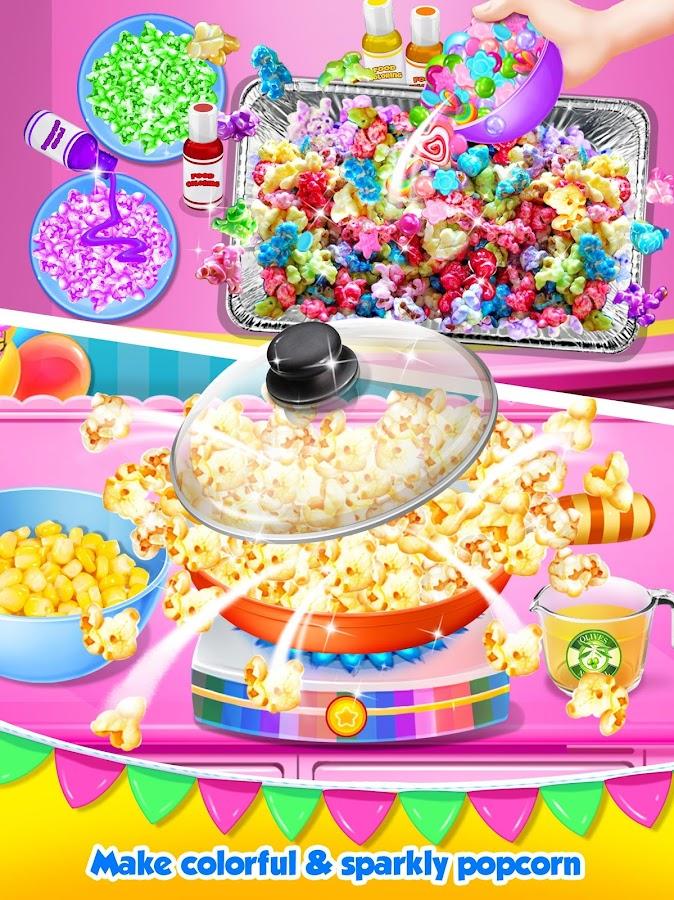 einhorn essen rainbow popcorn party android spiele download. Black Bedroom Furniture Sets. Home Design Ideas