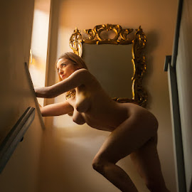 Liz at the Top of her Stairs by Ian Cartwright - Nudes & Boudoir Artistic Nude ( stairs, nude, window, naked, woman, boudoir )