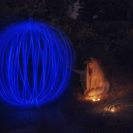 Summoming the blue light by Ivana Iva - Abstract Light Painting ( girl, blue, night, long exposure, woods )